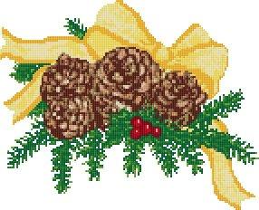 Vánoční šišky, předloha pro vyšívání
